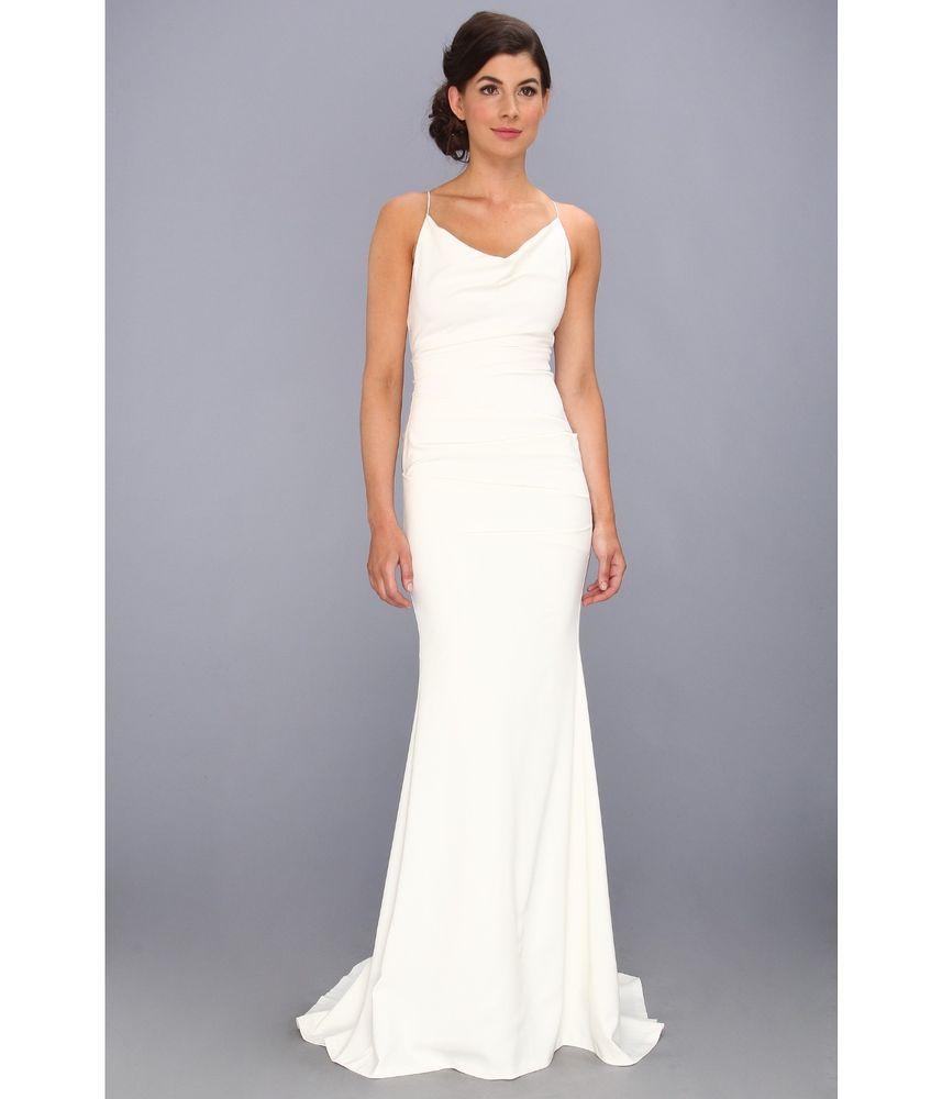 Nicole Miller Tara Cowl Crisscross Strap Wedding Gown Dress Antique White 10 Nicolemiller Womens Wedding Dresses Fitted Wedding Dress White Dresses For Women