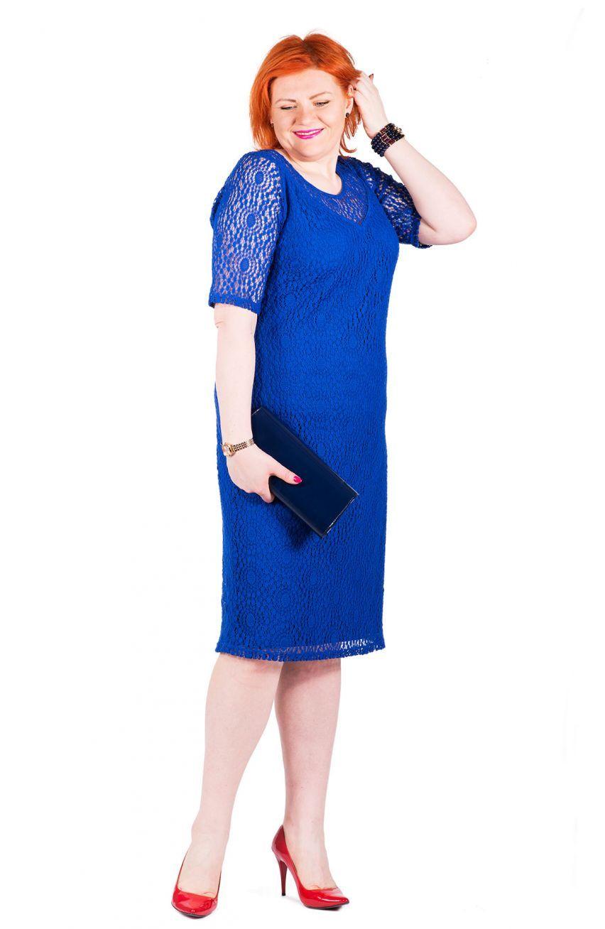 56ff88a412 Elegancka kobaltowa koronkowa sukienka - Modne Duże Rozmiary