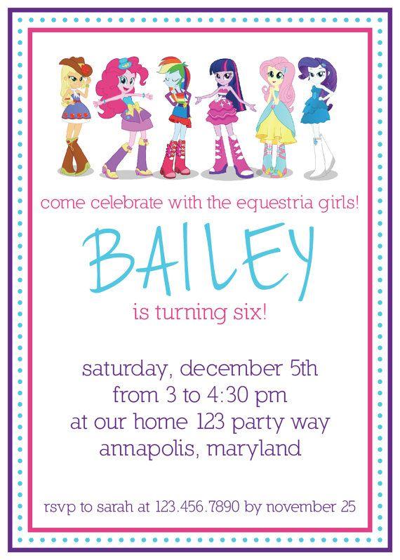 My Little Pony Equestria Girls birthday invitation | sunset shimmer ...