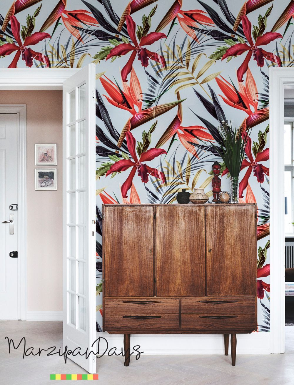 Plants and leaves, removable wallpaper - repositionable, reusable, self-adhesive, wall mural, peel and stick, delicate art wall, #139 #happyfallyallwallpaper Red is the one of most vivid colors of fall. Beautiful nature inspired tropical pattern Plants and Leaves removable wall mural #modernhomedecor #moderninterior #decorideas #Peelandstick #removable #fallcolors #red #redcolor #decorating #tropics #wallpaper #wallmural #walls #walldecor #inspirational #reddecor #autumn #autumncolors #homeideas