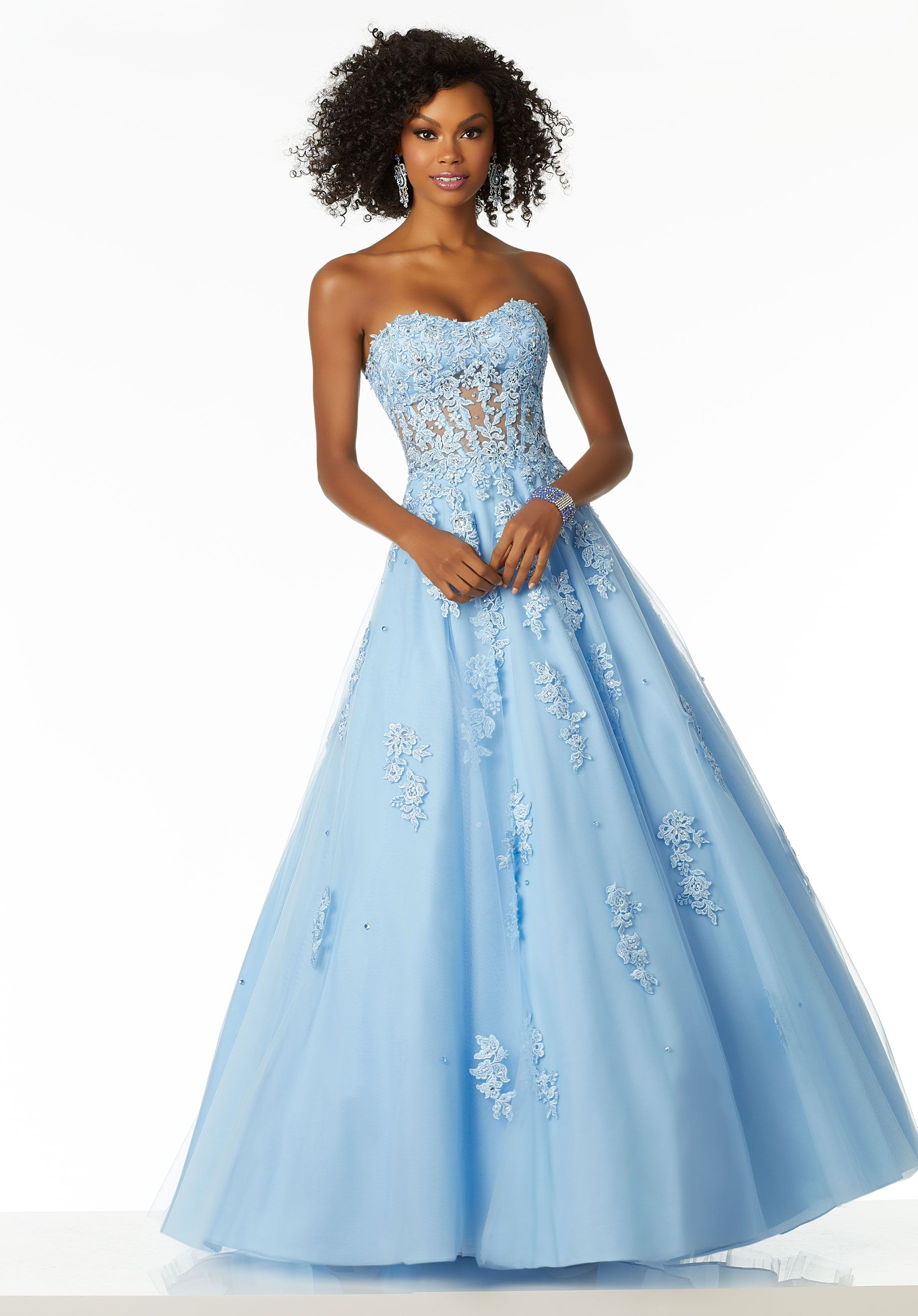Soft A-Line Ballgown Featuring a Sheer Boned Bodice and Tulle Skirt ...