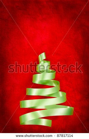 Christmas tree shape from green ribbon on red fabric Twisteed