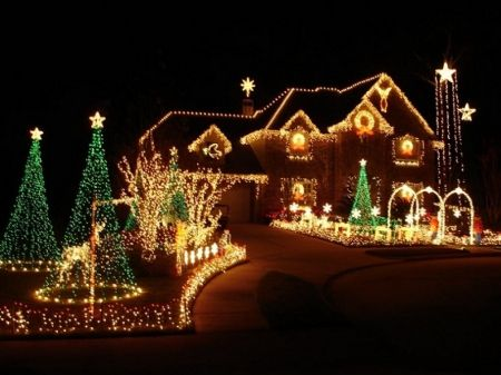 Christmas Lights Houses Wallpaper Id
