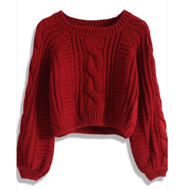 Cable Knit High-waist Loose Short Pullover Sweater | Cable ...