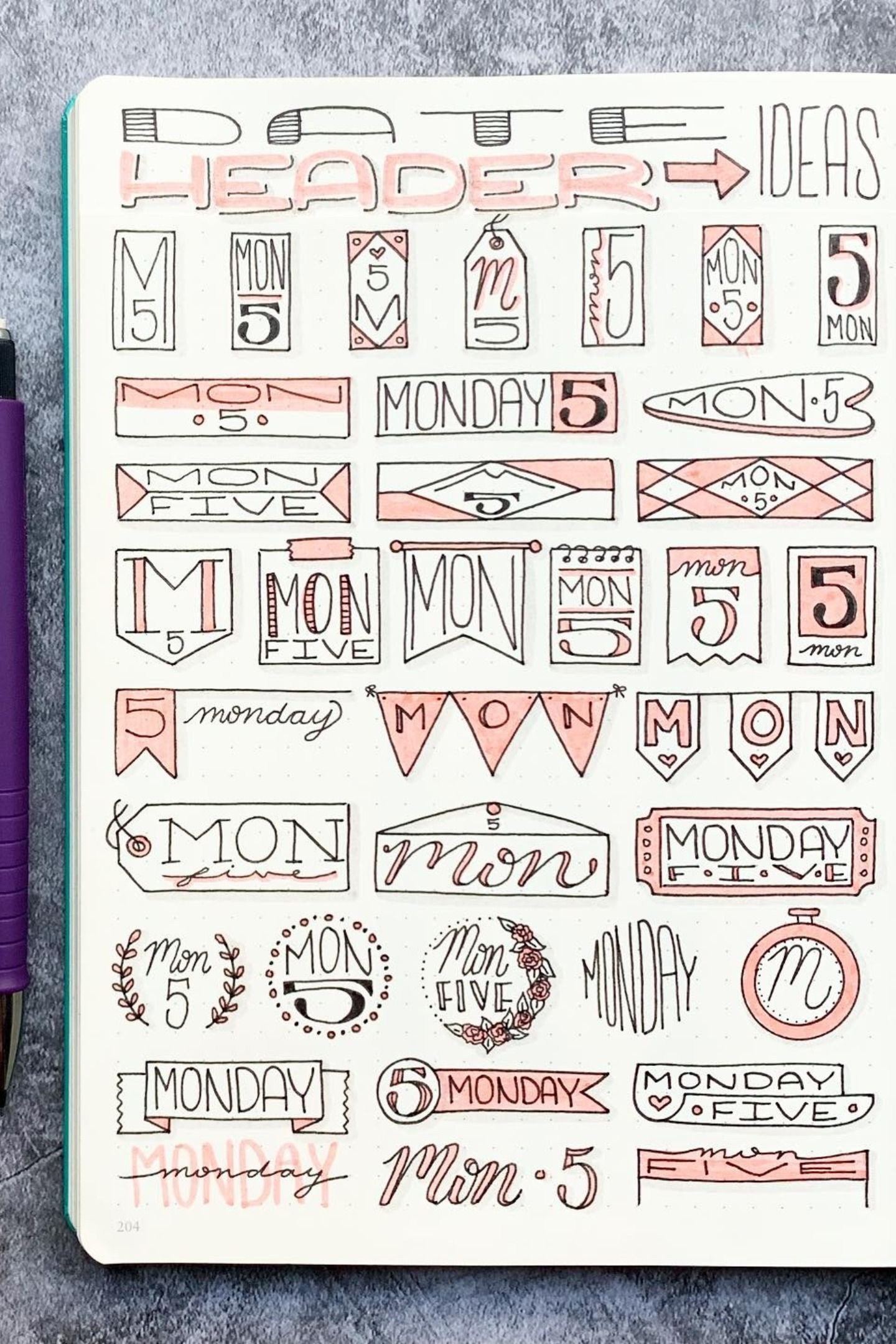 How To Draw Journal Date Headers In 2020 Bullet Journal Banner Bullet Journal Books Bullet Journal Notes