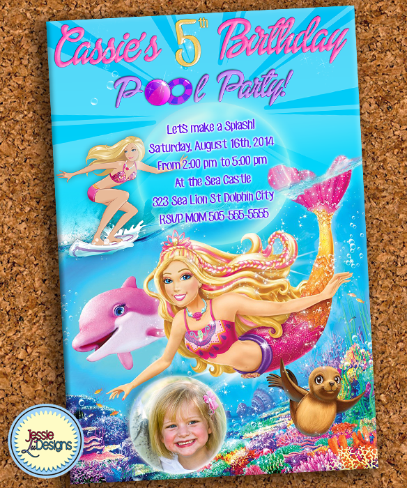 Barbie Mermaid Custom Digital Pool Birthday Invitations By JessieLuDesigns Etsyme