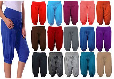 New Ladies 3//4 Harem Baggy Shorts Women Plain Cropped Alibaba Trouser Pant 8-26.