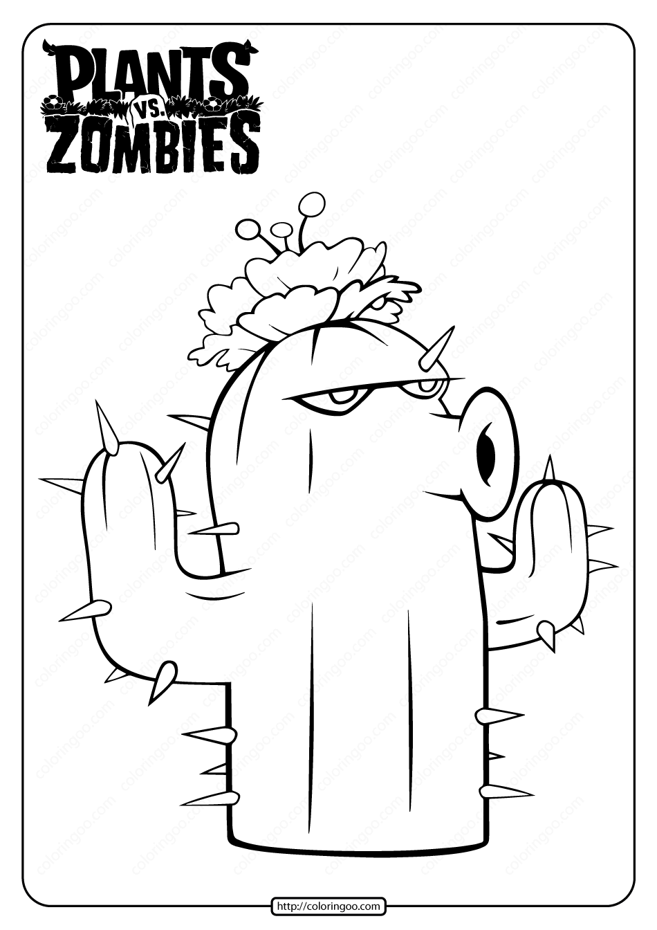 Free Plants Vs Zombies Cactus Pdf Coloring Page In 2021 Plants Vs Zombies Plant Zombie Free Plants