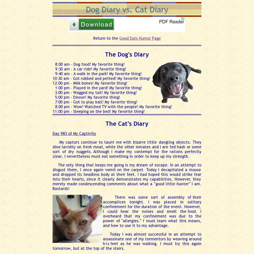 what dogs and cats write in their diaries