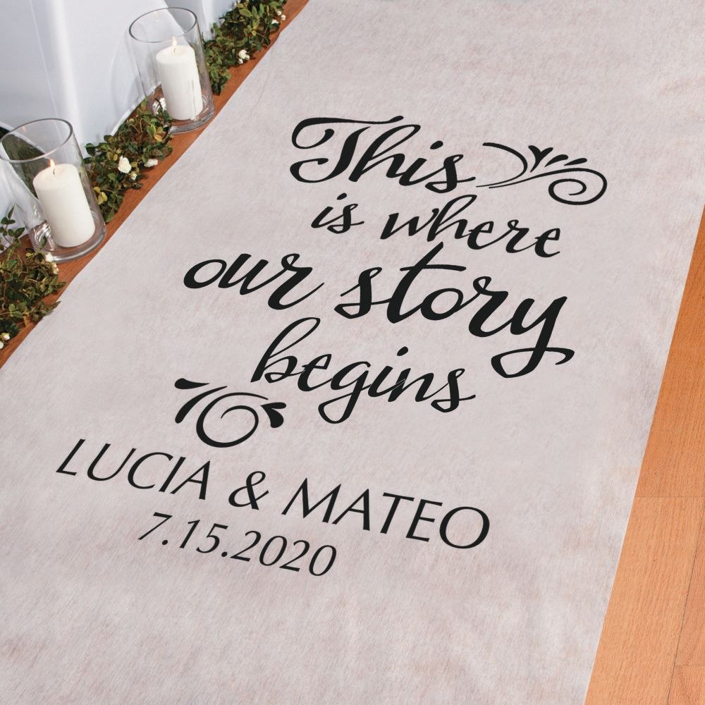 Personalized Where Our Story Begins Aisle Runner Black