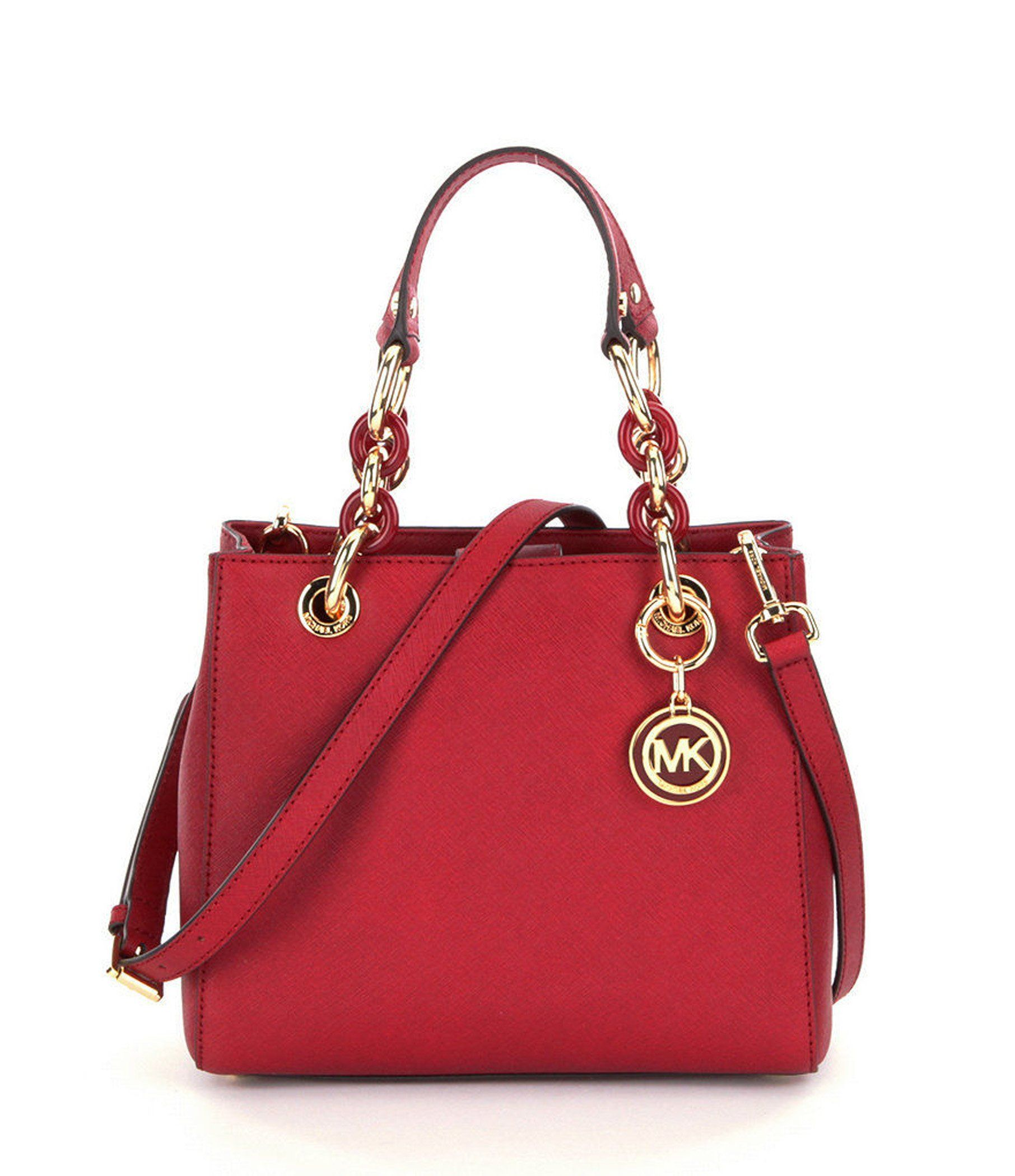 2d581e957139 Michael Kors Cynthia Small North South Red Leather Satchel | táska ...