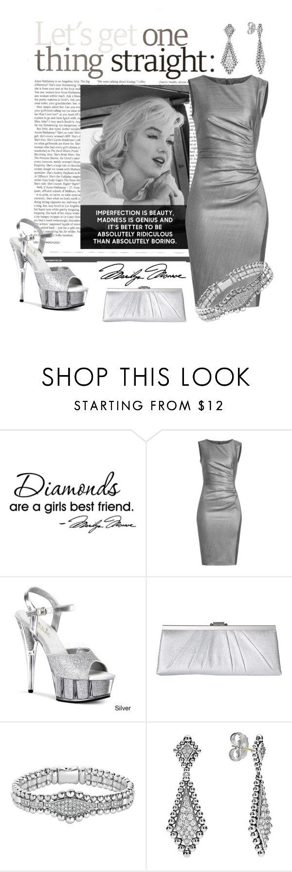 """""""Soft Grey & White"""" by lavalu-1 ❤ liked on Polyvore featuring WALL, MaxMara, Pleaser, Jessica McClintock, Lagos, white, grey and Marilyn"""