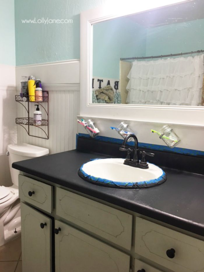 I Chalk Painted My Countertops Guest Bath Pinterest Countertops Bathroom And Painting