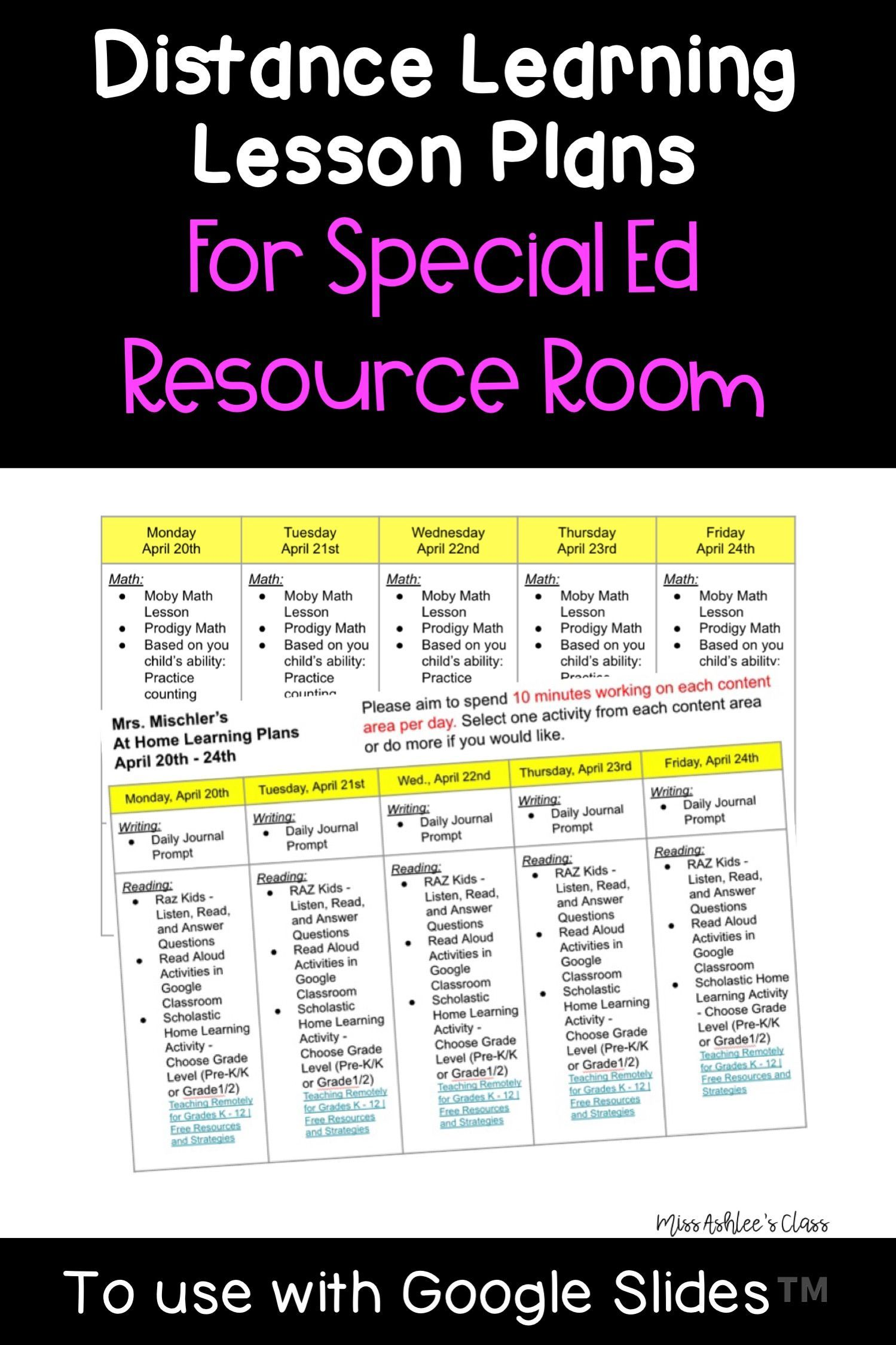 Distance Learning Lesson Plans For Special Ed