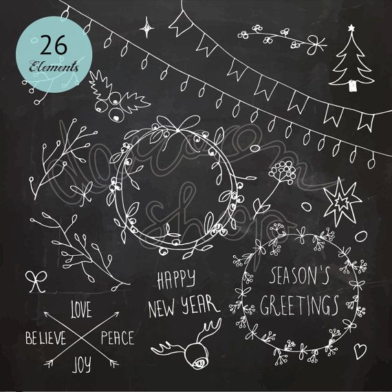 Chalkboard Christmas and New Year Doodles / Clip Art set ...