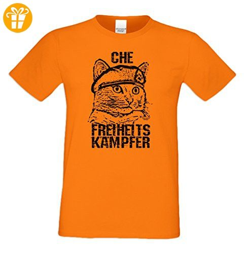 Geschenk für Katzenfreunde :-: T-Shirt mit Katzen Motiv :-: Che :-:  Geschenkidee für Tierfreunde zum Geburtstag Vatertag Weihnachten :-: Farbe:  orange: ...