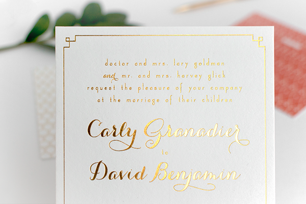Carly Davids Glamorous Coral and Gold Foil Wedding Invitations