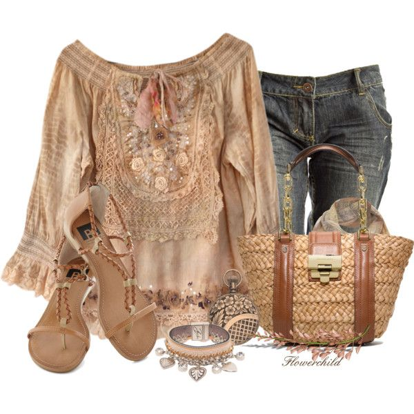 """""""Boho Chic"""" by flowerchild805 on Polyvore ~~ Not 100% sold on the blouse but I do like the outfit over all"""