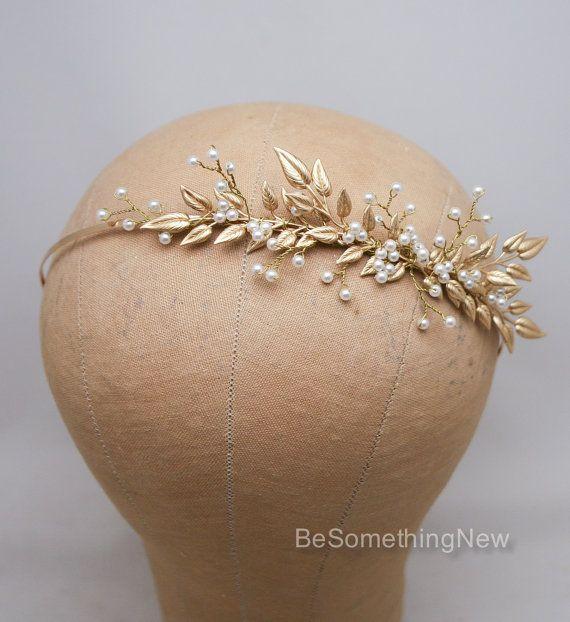 Diadema de Novia de rama oro perla y hoja de por BeSomethingNew