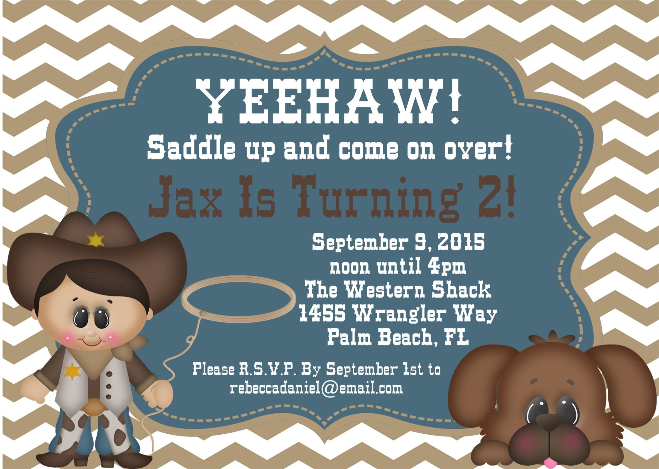 Colorful Cowboy First Birthday Invitations Gift Invitations