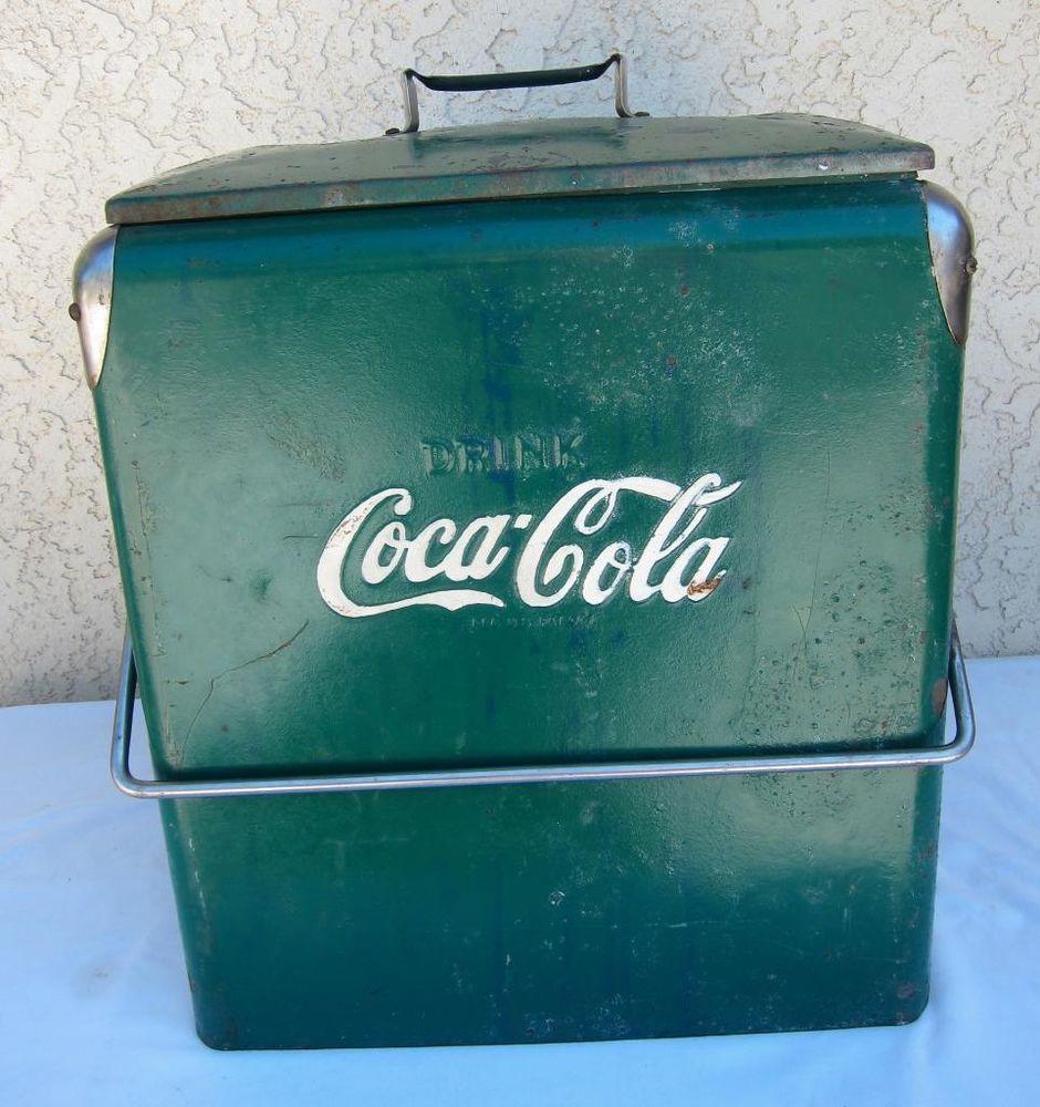 Vintage Coca Cola Coke Picnic Cooler Ice Chest Opener Drain