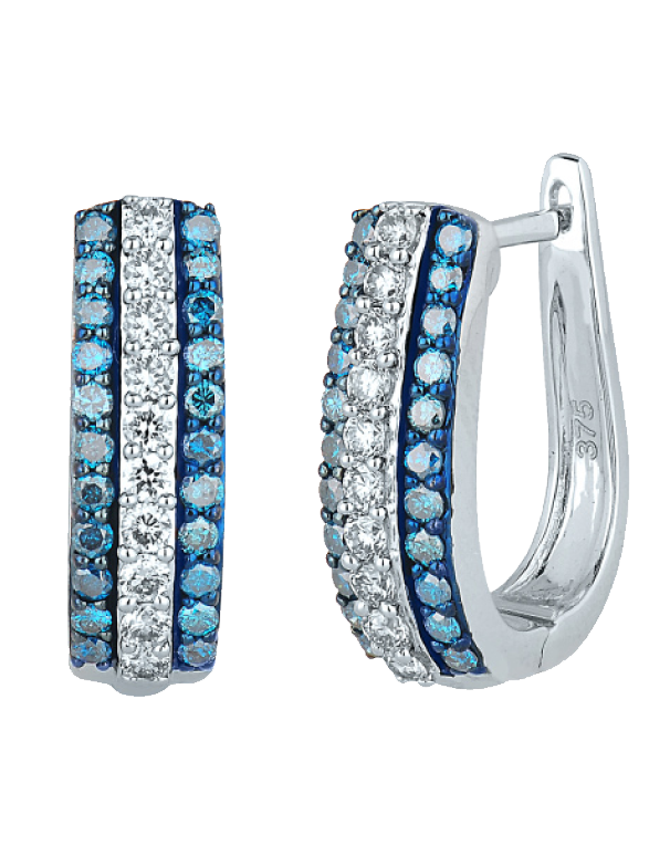 Diamond Earrings Blue and White Diamond Set White Gold Hoop