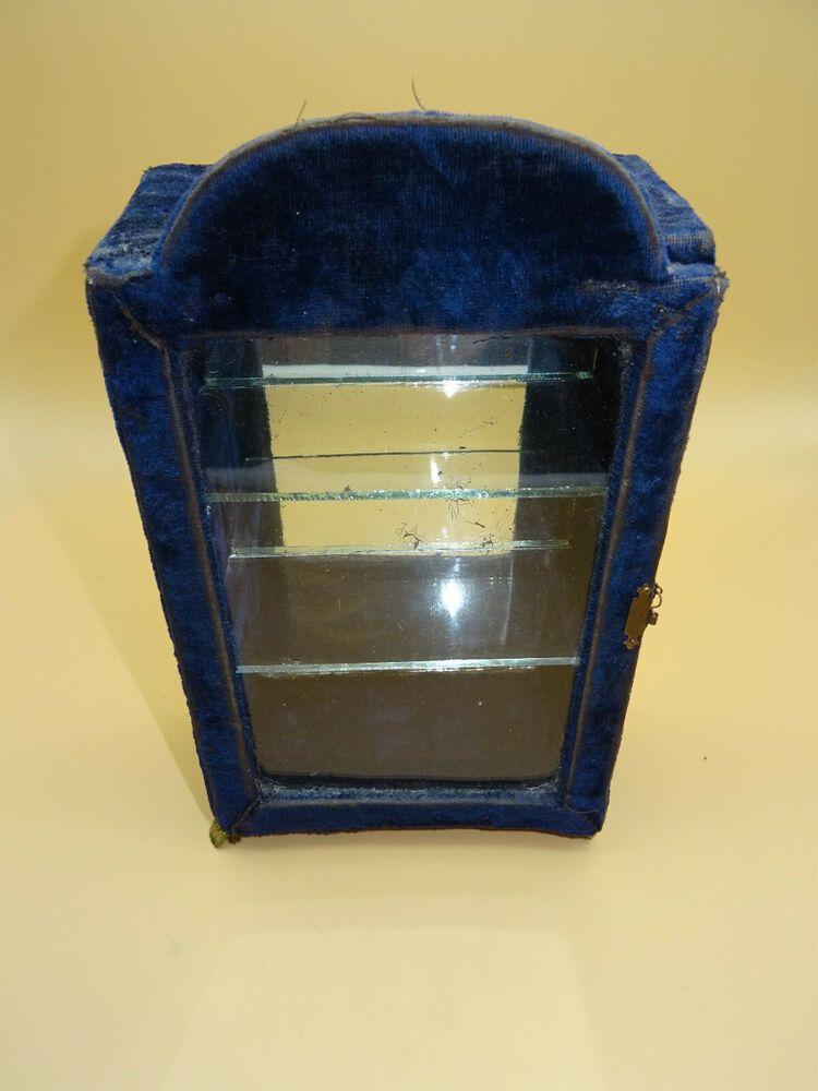 Historismus Grunderzeit Miniatur Puppen Vitrine Samt Glas Um 1880 1900 Miniatur Vitrine Grunderzeit