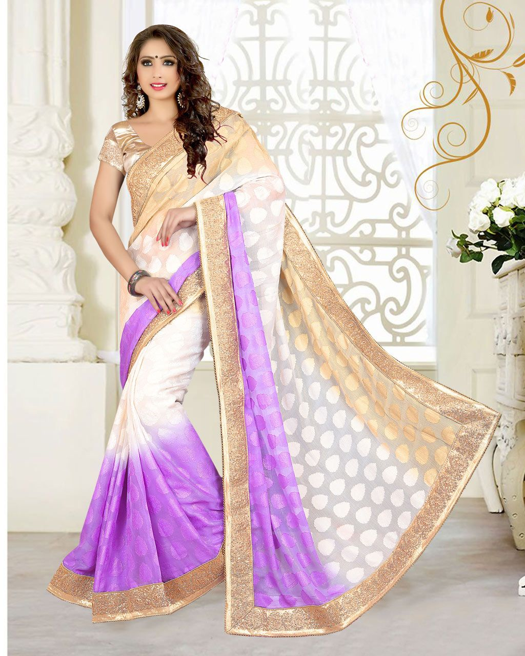Wedding White Sarees Online: Off White Georgette Jacquard Wedding Saree 63536