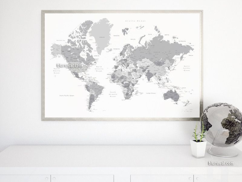 Grayscale world map poster printable with countries, states and ...