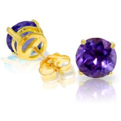 3.10ct Amethyst Round Stud Earrings in Yellow Gold