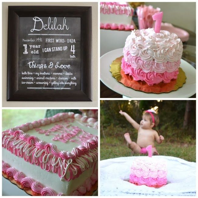 Pink and Gold 1st Birthday Party Celebration Decoration and Smash
