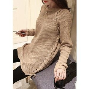Rotita Long Sleeve Lace Up Light Tan Sweater | Always be ready ...