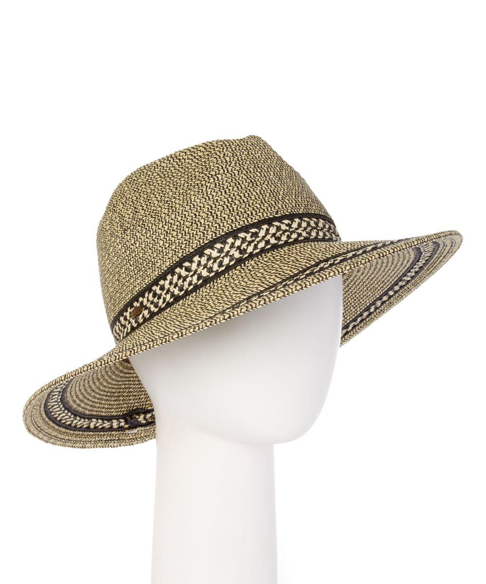 Black Herringbone Weave Sunhat