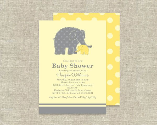elephant baby shower invitations  zoo animal theme  baby shower, Baby shower invitation