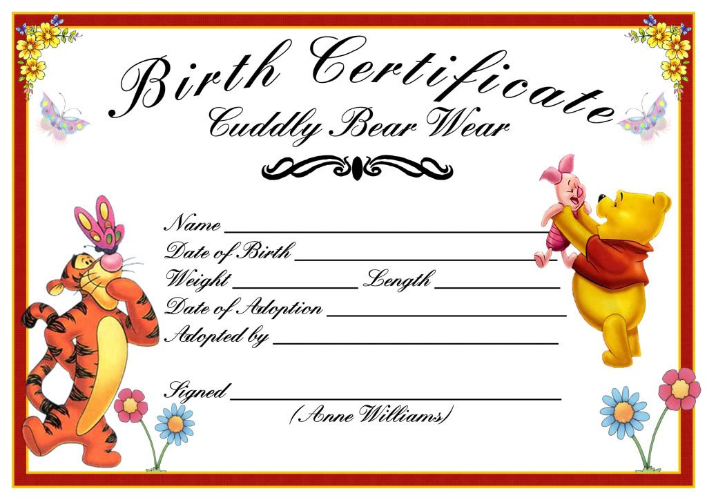 Baby Birth Certificate Template Unique Baby Birth Certificate Pillow As Well As Bear Birth Certificate .