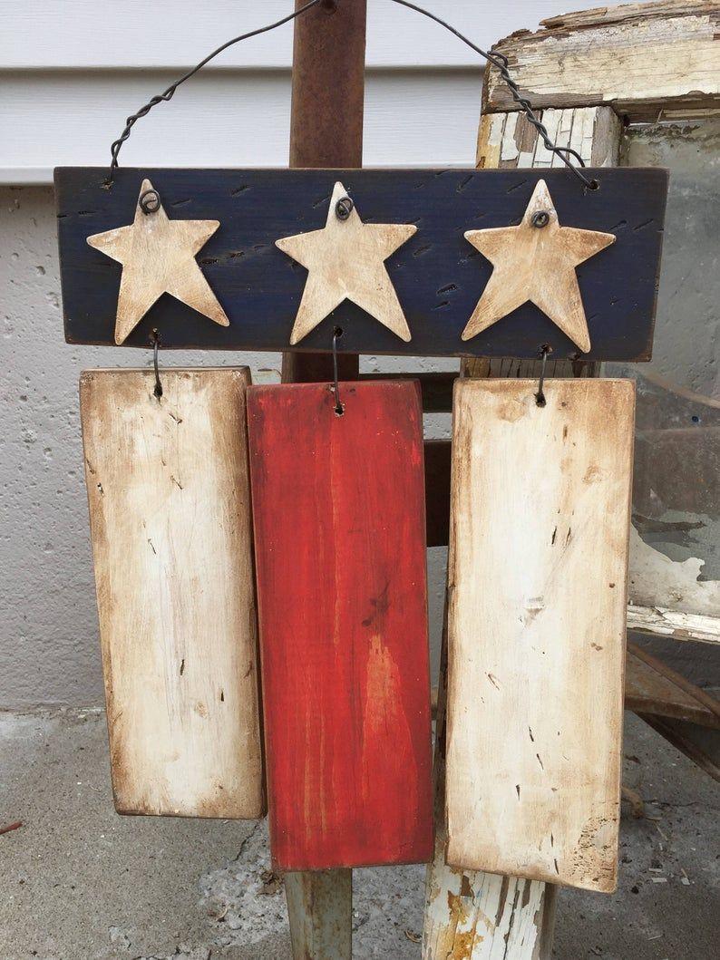 Rustic Primitive American Flag, wood Americana Flag 4th of July decor, front door sign, patriotic decor, primitive, front porch flag, USA #americanflag