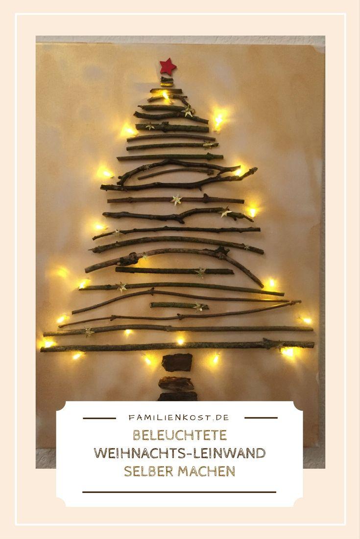 weihnachts leinwand mit lichterkette selber machen. Black Bedroom Furniture Sets. Home Design Ideas