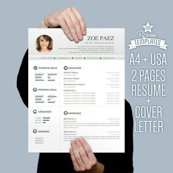 Resume Template  Cover Letter  Page Cv A  Letter Size By