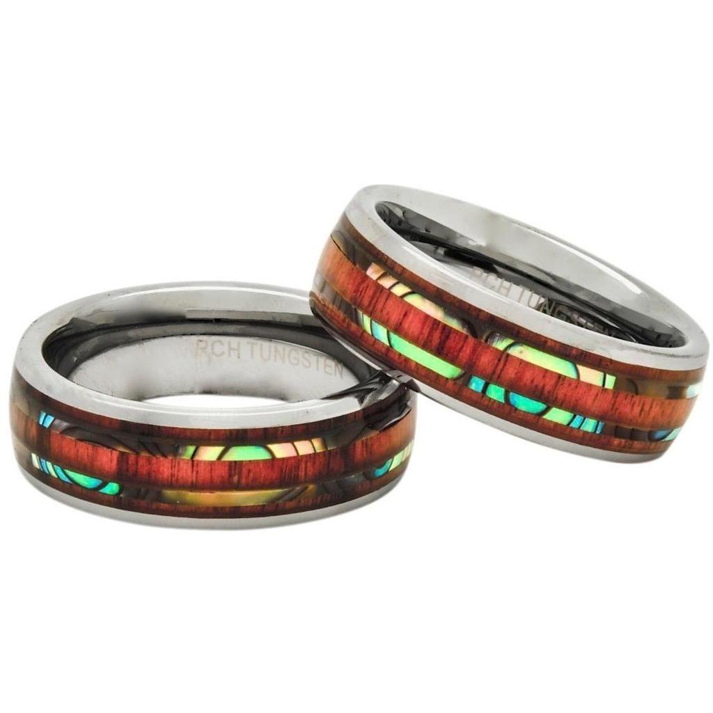 Hawaiian koa wood rings abalone inlay tungsten 8mm 5 row