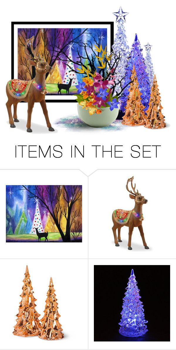 """""""LED Trees and Deer Display"""" by kathy-martenson-sanko ❤ liked on Polyvore featuring art"""