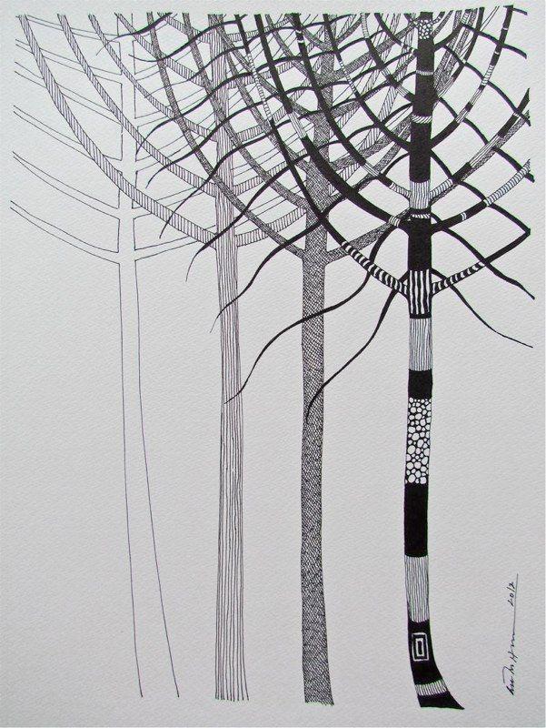 Åse Margrethe Hansen/Påfugltreet; ink drawing, 2012