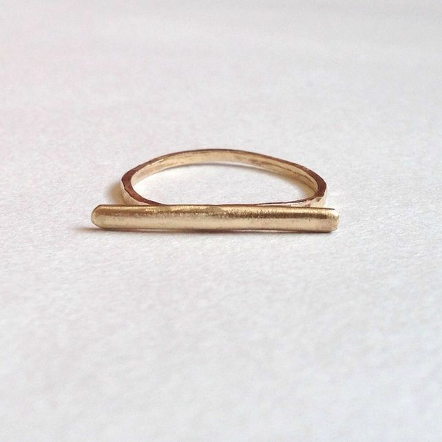 Gold Bar Ring Minimal 18 Carat UK Hallmark minimalist