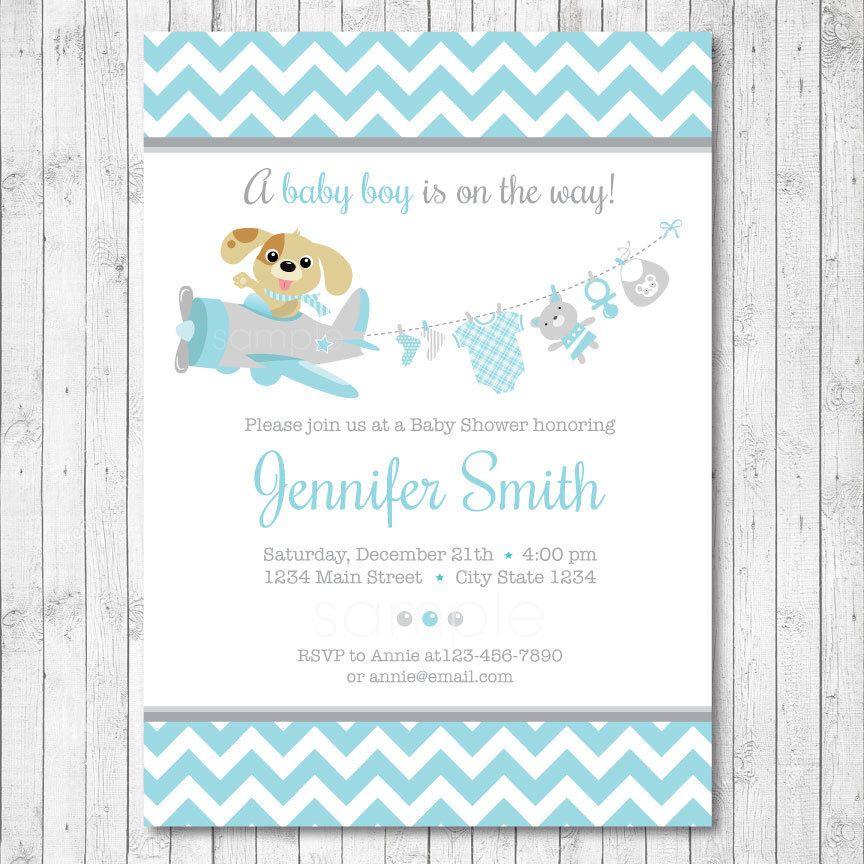 Puppy Pilot Baby Shower Invitation, Airplane Invite, Little dog ...