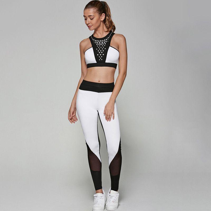 b1ca33e25cc17 Fitness Women Yoga Jumpsuit Gym Running Sports Dry Sportswear Sets  Patchwork Tracksuit