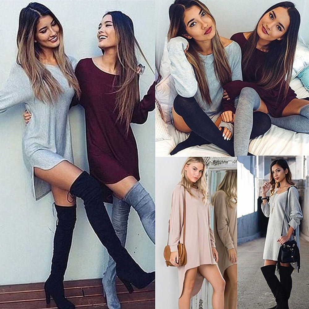 New womens ladies long sleeve sexy casual loose t shirt tee long