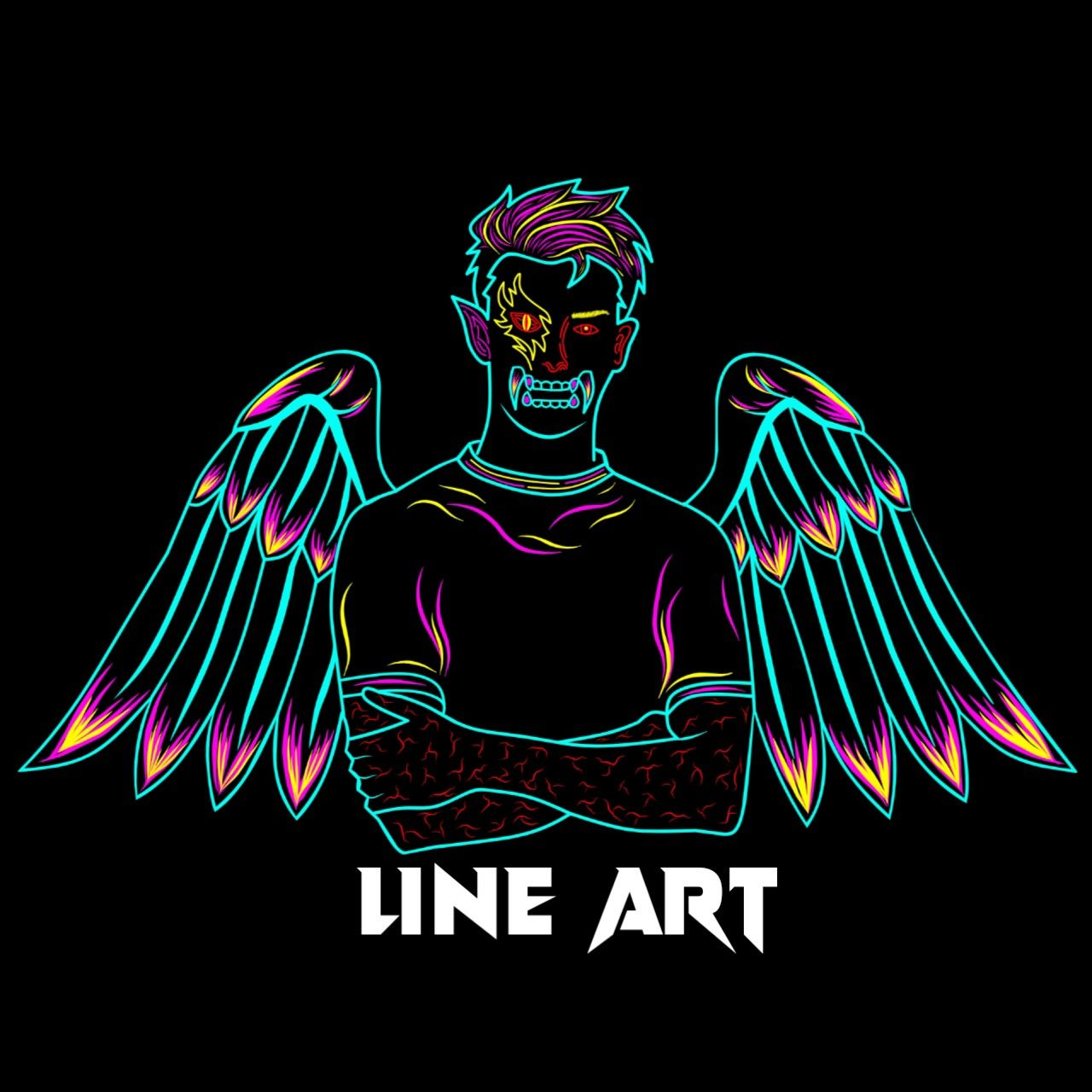 Line Art Vector Design Tutorial On Android Lineart Sayap Angel