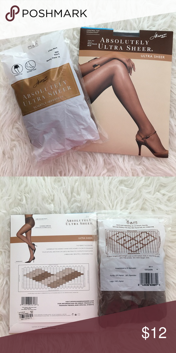 9b9ae7cf275 NWT Hanes Ultra Sheer Pantyhose NWT Never Worn. 3 pair pack of