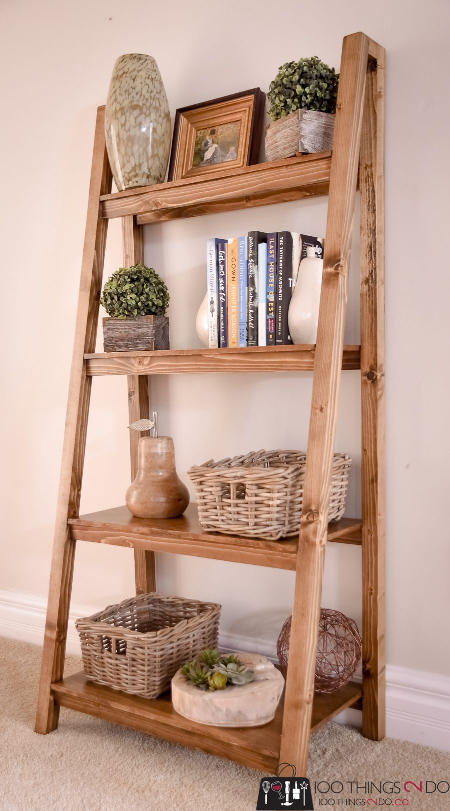 Freestanding, Angled Bookcase – free building plans! | 100 Things 2 Do