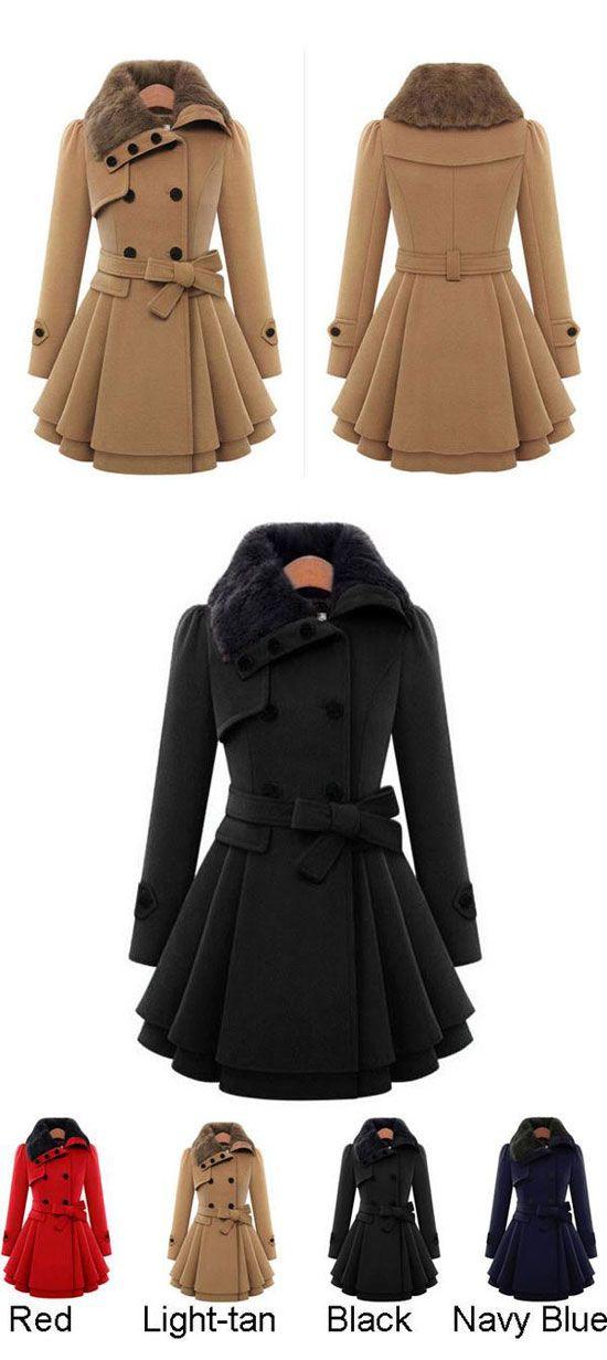 Double Breasted Thicker Coat Windbreaker Winter Dress Women Coat ...