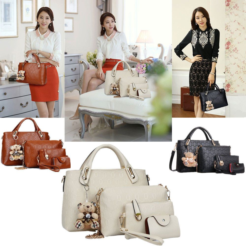 95b561a5ea92b Women 4 Piece Tote Bag Pu Leather Weave Handbag Shoulder Purse Bags ...